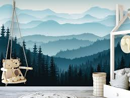 Removable Peel N Stick Wallpaper Self Adhesive Wall Mural 3d Mountain Mural Wallpaper Nursery Ombre Blue Mountain Pine Forest Trees Sample 6 X 8 Amazon Com