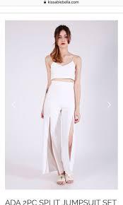 Kissablebella ADA WHITE 2PCS Top + bottom high waist split pants ...
