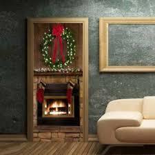 3d Christmas Wall Door Sticker Warm Fireplace Decal Murals Home Party Diy Decors Ebay