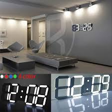 led table desk night wall clock alarm