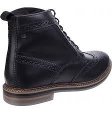 mens hurst waxy black leather brogue boots