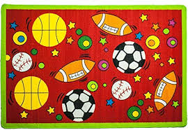 Amazon Com Mybecca Kids Rug Sports Area Rug In Red 3 X 5 Children Area Rug For Playroom Nursery Non Skid Gel Backing 39 X 58 Furniture Decor