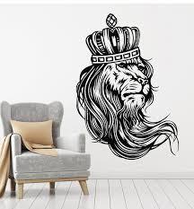 Vinyl Wall Decal Crown Animal Cat Lion Mane Predator King Stickers Mur Wallstickers4you