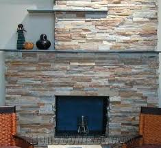 ledgestone red rock fireplace brown