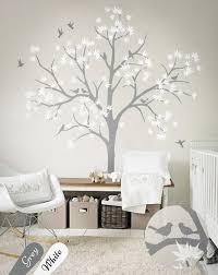 Large Nursery Wall Decoration White Tree Wall Decals Nursery Etsy