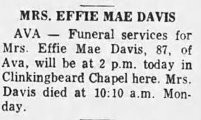 Effie Davis Obituary - Newspapers.com