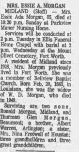 Obituary for Essie Ada MORGAN (Aged 85) - Newspapers.com