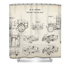 Patent Drawing for the 1942 Willys JEEP Military Vehicle Body by Byron Q.  Jones Shower Curtain for Sale by StockPhotosArt Com