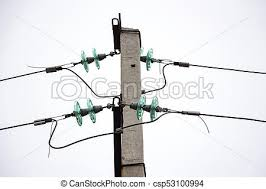 glass insulators on power lines white