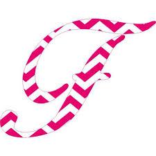 4in X 3in Pink Chevron Cursive F Monogram Sticker Vinyl Truck Car Stickers Walmart Com Walmart Com