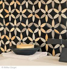 Oh my baby has a collection :) Sonja Stone Mosaic collection by Walker  Zanger - La Fleur Pattern in Noi…   Amazing bathrooms, Bathroom  renovations, Tile accent wall