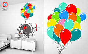 Bear With Balloons Wall Decal Baby Kids Wall Decals E Glue Children Room Wall Decor