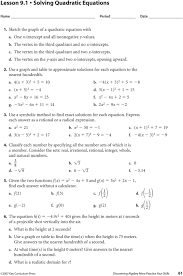 lesson 9 5 solving quadratic equations