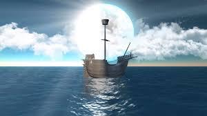 سفينة قديمة ثلاثية الأبعاد تبحر ما بين الليل والنهار والشمس والقمر