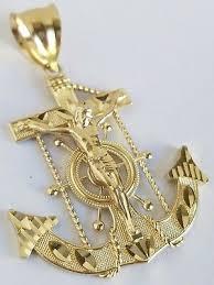 10k yellow gold crucifix anchor
