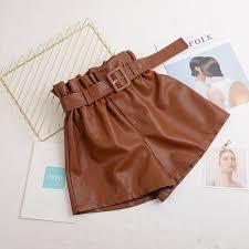 autumn winter pu leather shorts women