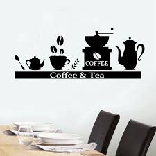 Cafe Wall Stickers Coffee Shop Vinyl Decals Cups Decal Tea Bar Decoration Coffee Beans Sticker Drinkware Art Mural Spoon Wall Stickers Aliexpress