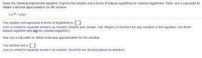 solved solve the following exponential