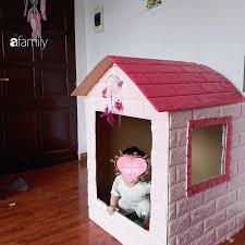 Mẹ Hà Nội chỉ cách làm nhà đồ chơi bằng thùng các tông cho các con