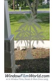 Oval Palm Tree Center Reverse Etched Glass Decal Static Cling 4 X 6 Palm Tree Decal Center Clear No Oval Glass Decals Tree Decals Sliding Glass Doors Patio