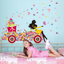 Kaimao Sweet Romance Fairy Princess Flower Butterfly Wall Stickers Pink Home Decor Decals For Girls Room Decoration Amazon Com