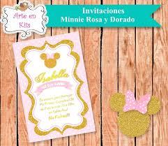 Arte En Kits Tarjetas Invitaciones Minnie Rosa Y Dorado X10u De