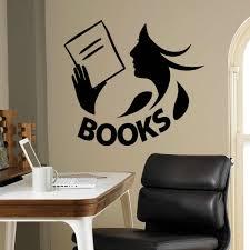 Books Wall Decal Library Reading Room Book Shop Kids Bedroom Interior Decor Door Window Vinyl Sticker Read Girl Art Mural Q849 Wall Stickers Aliexpress