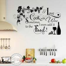 Cook With Wine Kitchen Wall Sticker Funny Kitchen Cooking Quote Home Wall Art Decor Decal With Grapevine