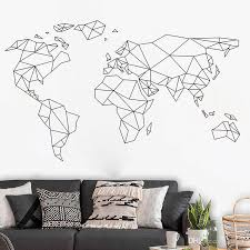 Fashion Modern Geometric Line 7 Continents Wall Stickers Diy Home Decor Living Room Removable Nursery Wall Art Decal Custom Vinyl Wall Decals Custom Wall Decal From Kity12 3 52 Dhgate Com