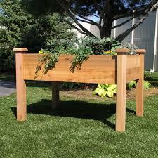 elevated garden bed cedar planter