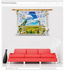 Window Scenery Sunflower Landscape 3d Wall Stickers For Living Room Bedroom Kids Room Sofa Background Home Decoration Poster 3d Wall Stickers Wall Stickerstickers For Aliexpress