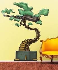 Amazon Com Graphic Wall Decal Sticker Abstract Bonsai Machine Gun Jh154b Everything Else