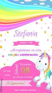 Invitacion De Cumpleanos De Unicornio Invitaciones De Cumpleanos