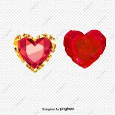 جوهرة شكل قلب مع قلب الورد الحب جوهرة روز Png وملف Psd للتحميل