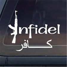 Infidel W Arabic Car Decal Sticker Die Cut Vinyl Decal For Window Car Truck Notebook Virtually Any Hard Smooth Surface Stickers Aliexpress