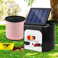 Giantz 8km 0 3j Solar Electric Fence Energiser Energizer Charger With 400m Tape Afterpay Latitude Pay At Home Alive