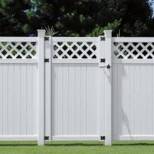 Outdoor Essentials Picketlock 6 Ft H X 3 5 Ft W White Vinyl Lattice Top Fence Gate In The Vinyl Fence Gates Department At Lowes Com
