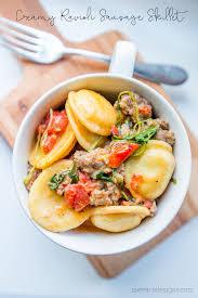 one pot creamy ravioli and sausage skillet