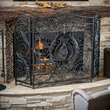 fireplace screen iron twig metal