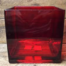 red glass cube 5 decorative flower vase