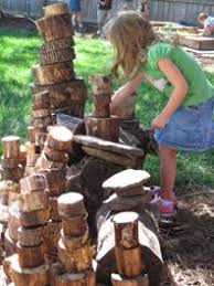 Look at all these log slices! Create a space for the kids to build ...