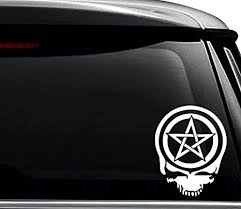 Amazon Com Pentacle Pentagra Wiccan Pagan Skull Decal Sticker For Use On Laptop Helmet Car Truck Motorcycle Windows Bumper Wall And Decor Size 10 Inch 25 Cm Tall Color Gloss White