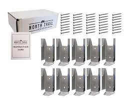 Fence Bracket Repair Kit 10 Pack Galvanized Brackets For 2x4 Wood Rail Includes 40 Galvanized Screws And Instruction Card Packaged By North Trail Goods Amazon Co Uk Business Industry Science