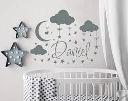 Name Wall Decal Boy Cloud Nursery Name Wall Decal Moon And Etsy