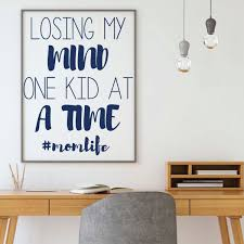 Amazon Com Funny Mom Wall Decor Losing My Mind One Kid At A Time Momlife Mother S Gift Vinyl Decal For Home Decor Family Room Or Living Room Handmade