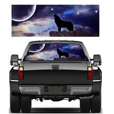 1pc Auto Car Rear Window Graphic Decal Tint Sticker 3 Sizes Wolf Howling In The Night Cool Car Sticker Truck Decoration Car Stickers Aliexpress