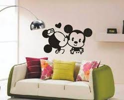 Vinyl Wall Decal Cute Kiss Kissing Disney Mickey Mouse Mice Love Heart Home House Art Wall Decals Wall Sticke Wall Vinyl Decor Baby Girl Room Vinyl Wall Decals