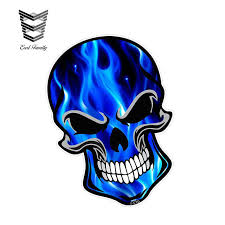 Earlfamily 12cm X 8 3cm Gothic Biker Skull With Electric Blue Flames Fire Motif External Vinyl Decal Car Stickers Car Styling Car Stickers Aliexpress