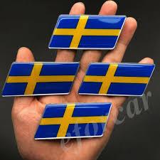 6pcs Sweden Flag Car Emblem Badge Gift Saab Motorcycle Gas Tank Decal Sticker