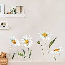Amazon Com Daisy Wall Stickers Removable Flower Wall Decals Bedroom Living Room Wall Art Decor White Home Kitchen